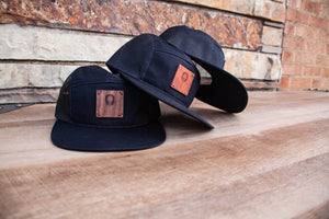 Black 5 Panel Trucker Hat with WL Wood Patch