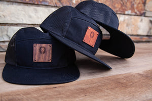 5 Panel Wood patch Trucker Hat -Black