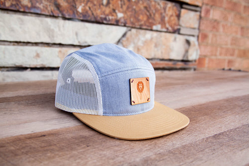 5-Panel Wood patch Trucker Hat -Light