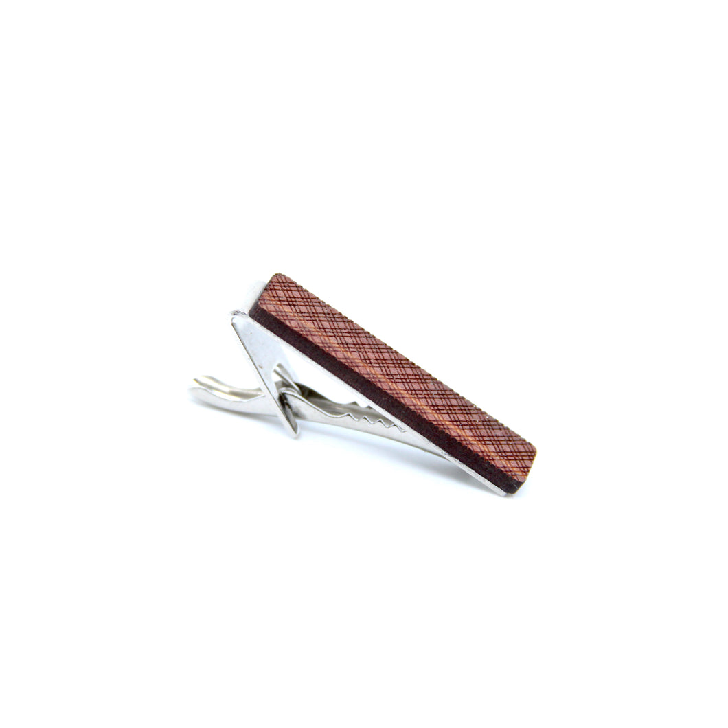 Wood Tie Clip- Plaid