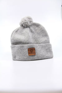 Grey Beanie with Pom + WL Wood Patch