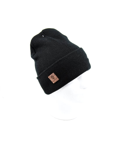 Cozy Black Beanie + WL Wood Patch