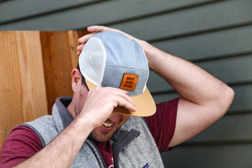 Light 5-Panel Trucker Hat *W/CUSTOM ENGRAVED Wood or leather patch