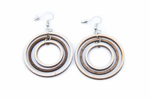 Heliocentric Hoops -Wooden Earrings