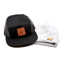 Black 5 Panel Trucker Hat W/*CUSTOM ENGRAVED wood or leather patch