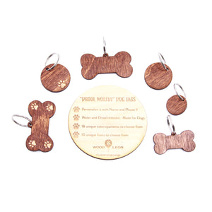 Personalized Wood Pet Tags | Water & Drool-Resistant