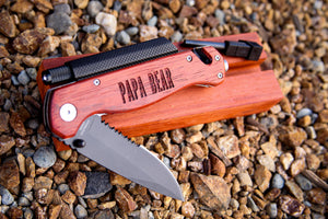 PERSONALIZED Tactile Knife w/Rosewood Grip