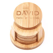 CUSTOMIZED SET of Bamboo Coasters- Square or Circle