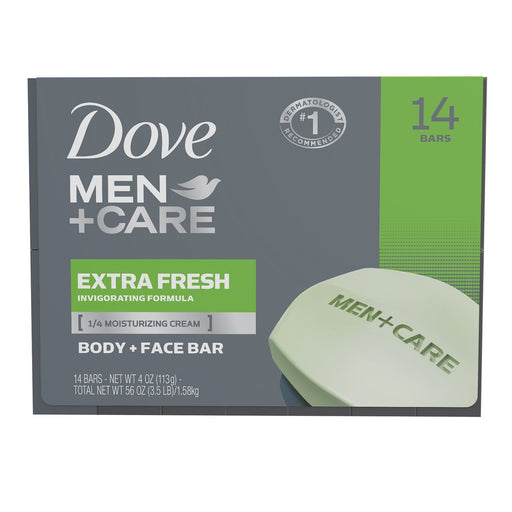 Dove Men+Care Soap Bars, Extra Fresh (4 oz., 14 bars) - EZneeds