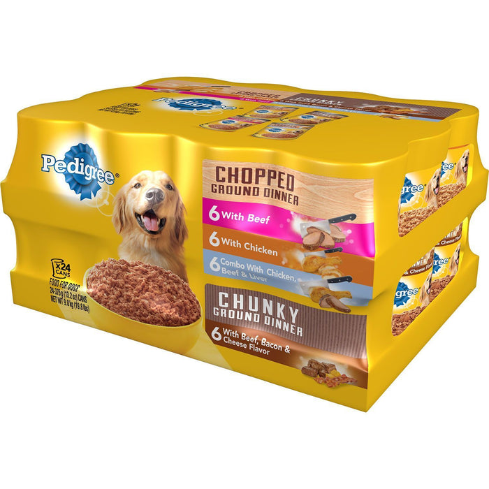 Pedigree Chopped Ground Dinner Wet Dog Food, Variety Pack (13.2 oz., 24 ct.)
