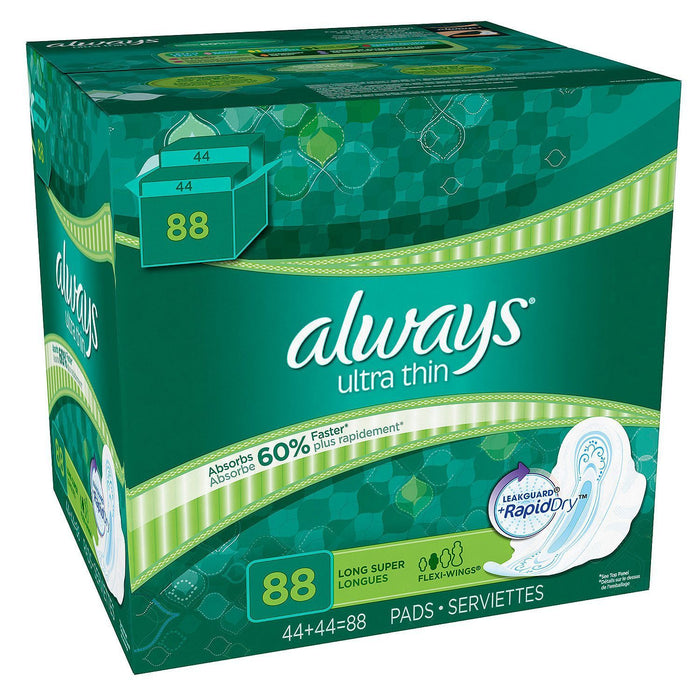 Always Ultra Thin Long Super Pads with Wings (88 ct.) - EZneeds