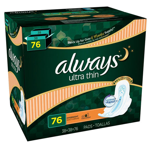 Always Ultra Thin Overnight Pads with Wings (76 ct.) - EZneeds