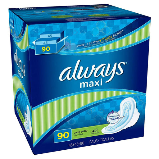 Always Maxi Long Super Pads with Wings (90 ct.) - EZneeds