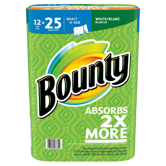 Bounty Select-A-Size Paper Towels, White (12 rolls, 131 sheets) - EZneeds