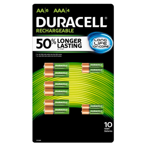 Duracell Rechargeable NiMH AA (6 pk.) and AAA (4 pk.) Batteries w/ ion Core