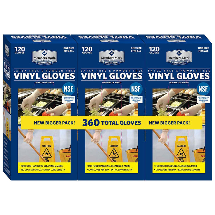 Commercial Disposable Latex Free Vinyl Gloves (120 ct., 3 pk.) - EZneeds