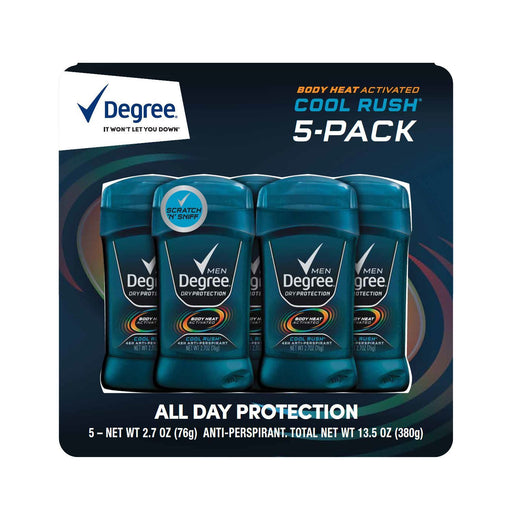 Degree Men Body Heat Activated Deodorant, Cool Rush (2.7 oz., 5 pk.) - EZneeds