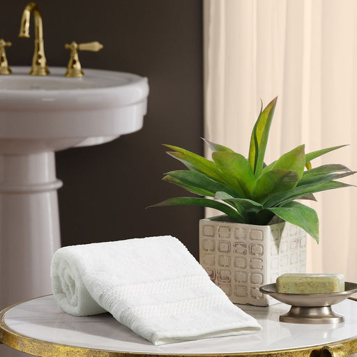 "Hotel Premier Collection 100% Cotton Luxury Hand Towel , White (16"" x 32"")"
