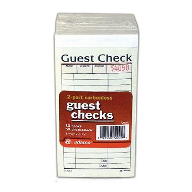 Adams 2-Part Carbonless Guest Check (50 checks/book, 10 pk.) - EZneeds
