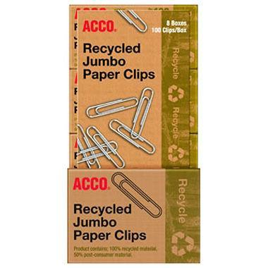 ACCO Recycled Jumbo Paper Clips (100 per Box, 8 Boxes) - EZneeds