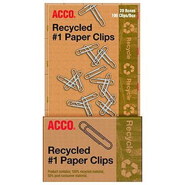 ACCO Recycled Standard Paper Clips (100 per Box, 20 Boxes) - EZneeds