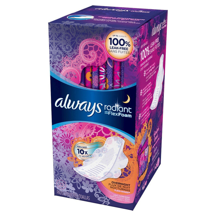 Always Radiant Pads with FlexFoam, Overnight (22 ct.) - EZneeds