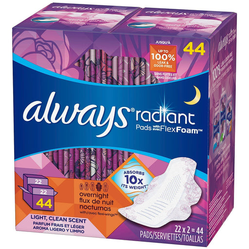 Always Radiant Pads with FlexFoam, Overnight (44 ct.) - EZneeds