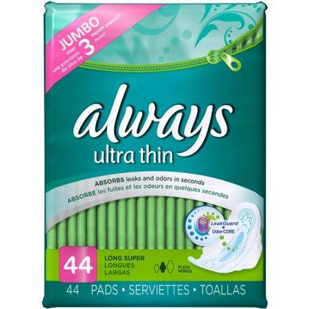 Always Ultra Thin Long Super Pads with Wings (44 ct.) - EZneeds