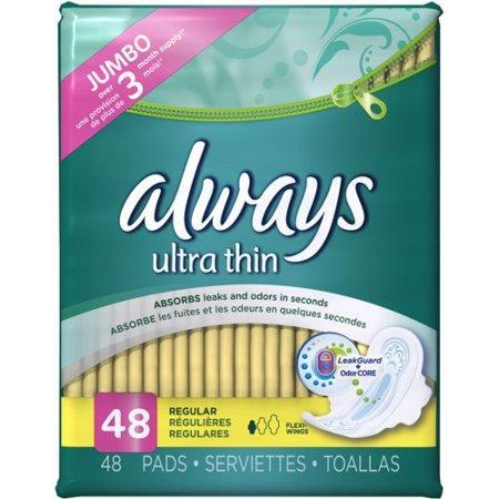 Always Ultra Thin Regular Pads with Wings (48 ct.) - EZneeds