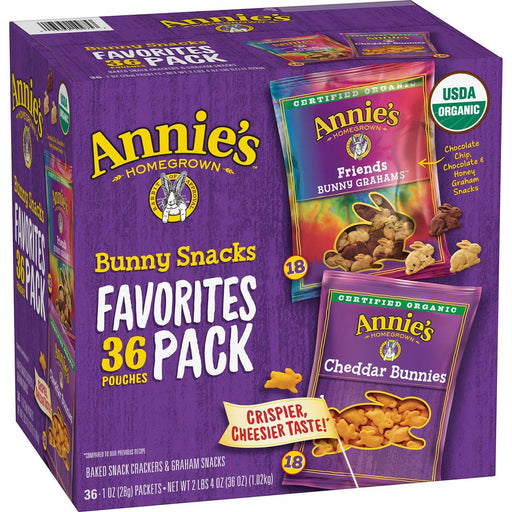 Annie's Organic Bunny Snacks Variety Pack (1 oz., 36 ct.)