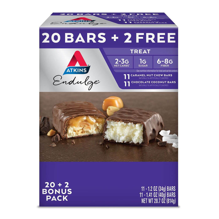 Atkins Endulge Treat Variety Pack (20 + 2 Bonus Bars) - EZneeds