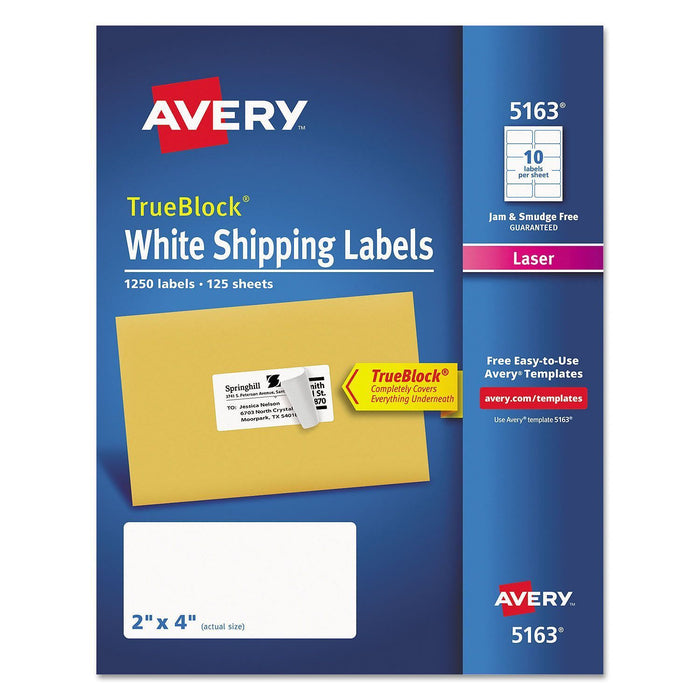 "Avery TrueBlock Shipping Labels, Laser, White (2"" x 4"", 1,250 ct.) - EZneeds"