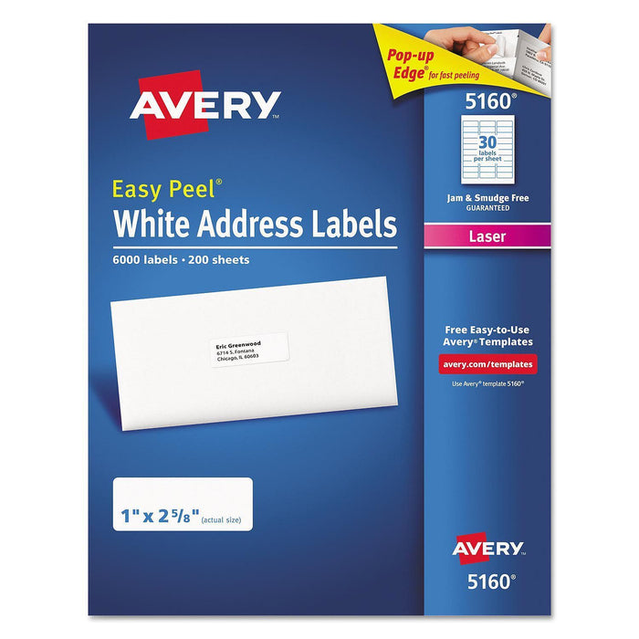 "Avery 5160 Easy Peel Address Labels, Laser, White (1"" x 2 5/8"", 6,000 ct.) - EZneeds"