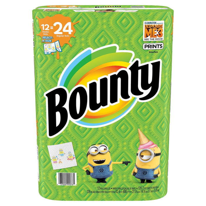 Bounty Select-A-Size Paper Towels Despicable Me 3 Prints (12 rolls, 126 sheets) - EZneeds