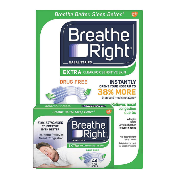 Breathe Right Extra Strength Nasal Strips, Clear (44 Ct.) - EZneeds