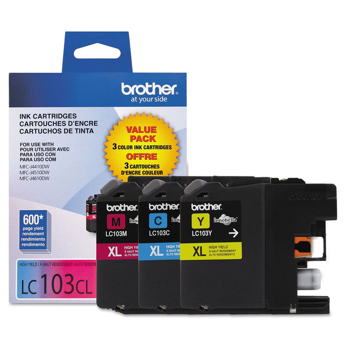 Brother LC103 Innobella High Yield Ink Cartridge (Color, 3 pk., 600 Page Yield) - EZneeds