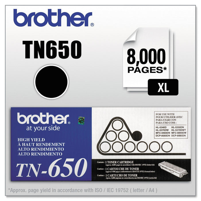 Brother TN650 High Yield Toner Cartridge (Black, 8,000 Page Yield) - EZneeds