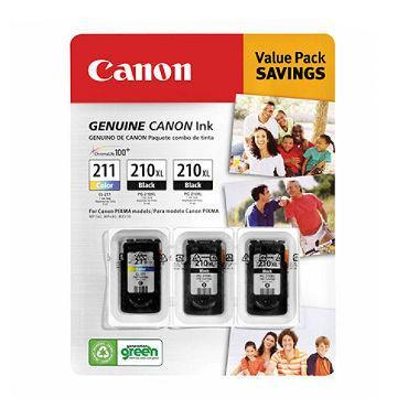 Canon PG-210XL/CL-211 Ink Tank Cartridge (Black/Tri-Color, 3 pk.) - EZneeds