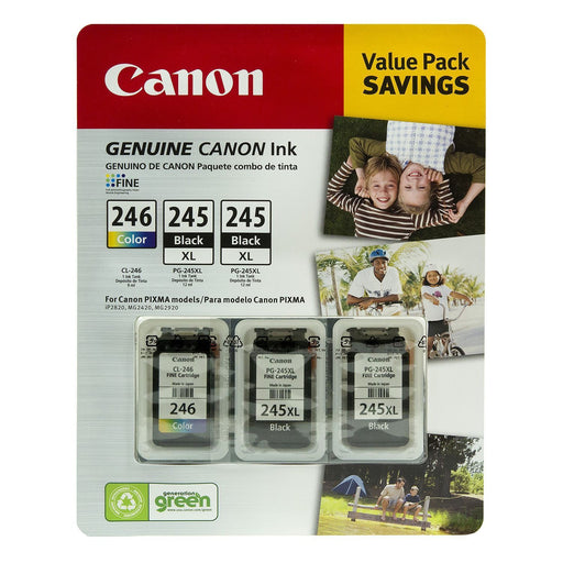 Canon PG-245XL/CL-246 Ink Tank Cartridge (Black/Tri-Color, 3 pk.) - EZneeds