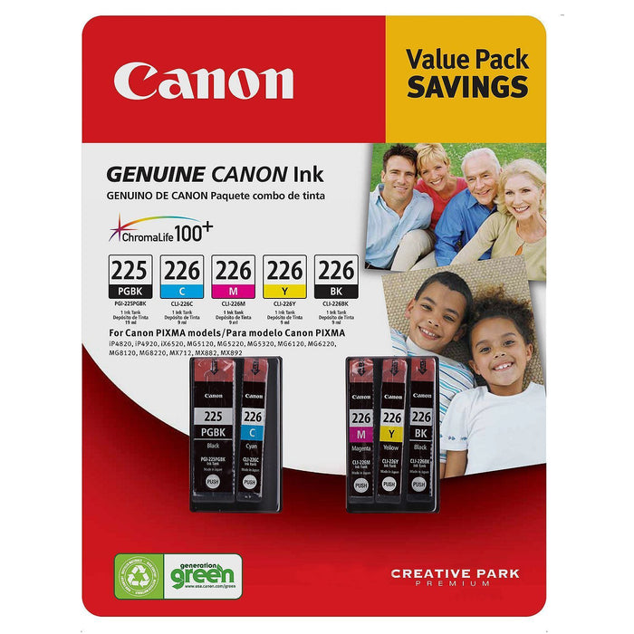 Canon PGI-225/CLI-226 Ink Tank Cartridge (Black/Color, 5 pk.) - EZneeds