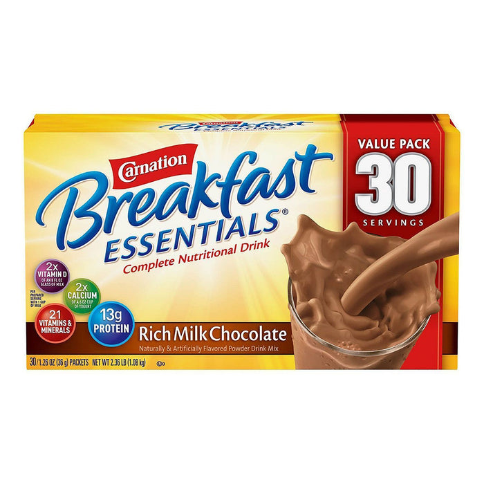 Carnation Breakfast Essentials Nutritional Drink Mix, Chocolate (30 ct.) - EZneeds