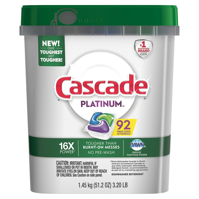 Cascade Platinum ActionPacs Dishwasher Detergent, Fresh (92 ct.) - EZneeds