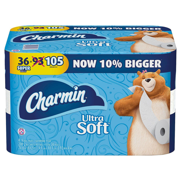 Charmin Ultra Soft Toilet Paper (208 sheets per roll, 36 Super Rolls) - EZneeds