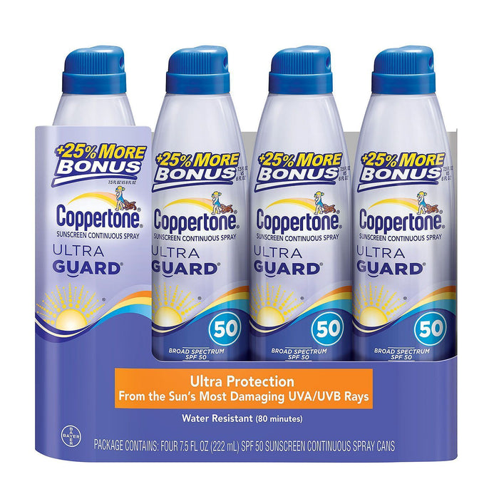 Coppertone Ultra Guard Continuous Spray Sunscreen, SPF 50 (7.5 fl. oz., 4 pk.) - EZneeds