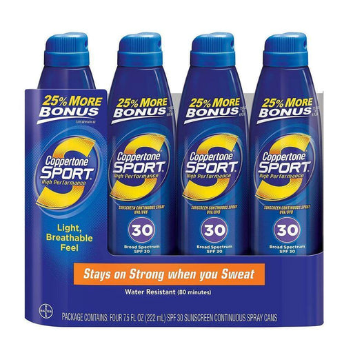 Coppertone Sport Broad Spectrum Continuous Spray Sunscreen, SPF30 (7.5 fl. oz., 4 ct.) - EZneeds