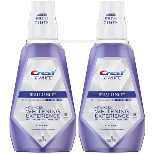 Crest 3D White Brilliance Whitening Mouthwash, Clean Mint (33.8 fl. oz., 2 pk.) - EZneeds