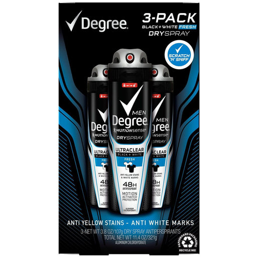 Degree for Men Black+White Fresh Dry Spray (3.8 oz., 3 pk.) - EZneeds