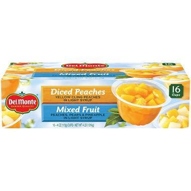 Del Monte Fruit Cups Snacks, Diced Peaches, Mixed Fruit (4 oz. cup, 16 ct.) - EZneeds