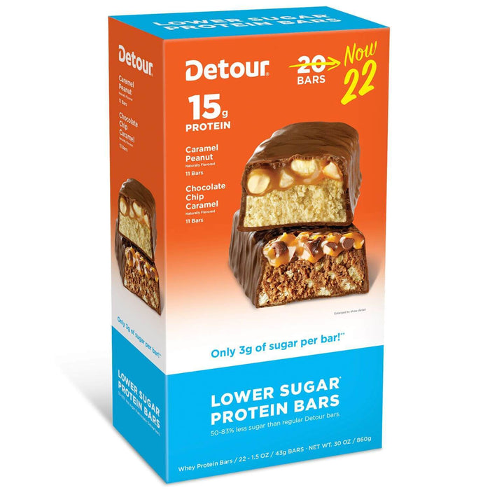 Detour Lower Sugar Protein Bars, 2 Flavor Pack (22 ct.) - EZneeds