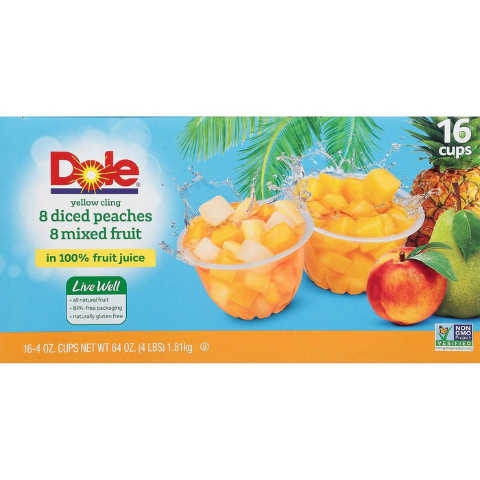 Dole Diced Peaches with Mixed Fruit (4 oz., 16 ct.) - EZneeds